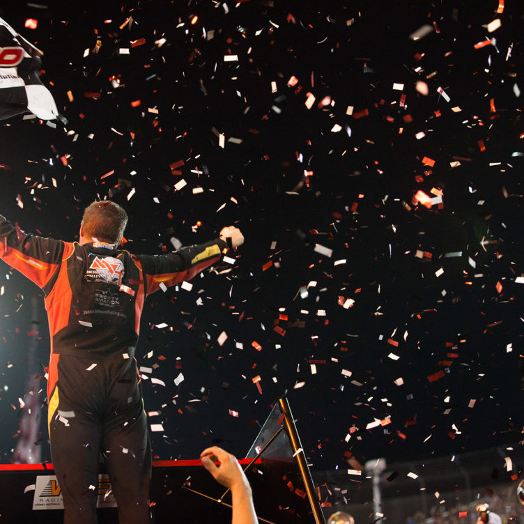 Jason Johnson on top of the sprint car world after winning The 2016 Knoxville Nationals. ( Jeffrey Turford / TDP )
