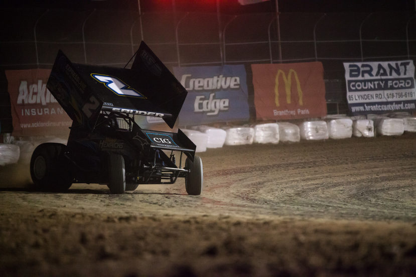 no.2 Kyle Sauder on the hammer through turn 2 during B-Main 2 (Jeffrey Turford / TDP)