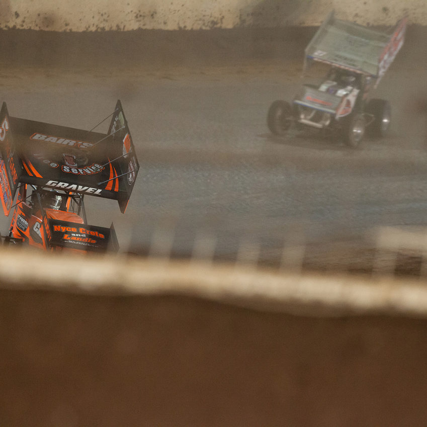 No. 5 David Gravel, No. 27 Greg Hodnett and the 83 of Joey Saldana battle for 2nd, 3rd and 4th place at The 2016 WoO World Finals in Charlotte, North Carolina. ( Jeffrey Turford / TDP )