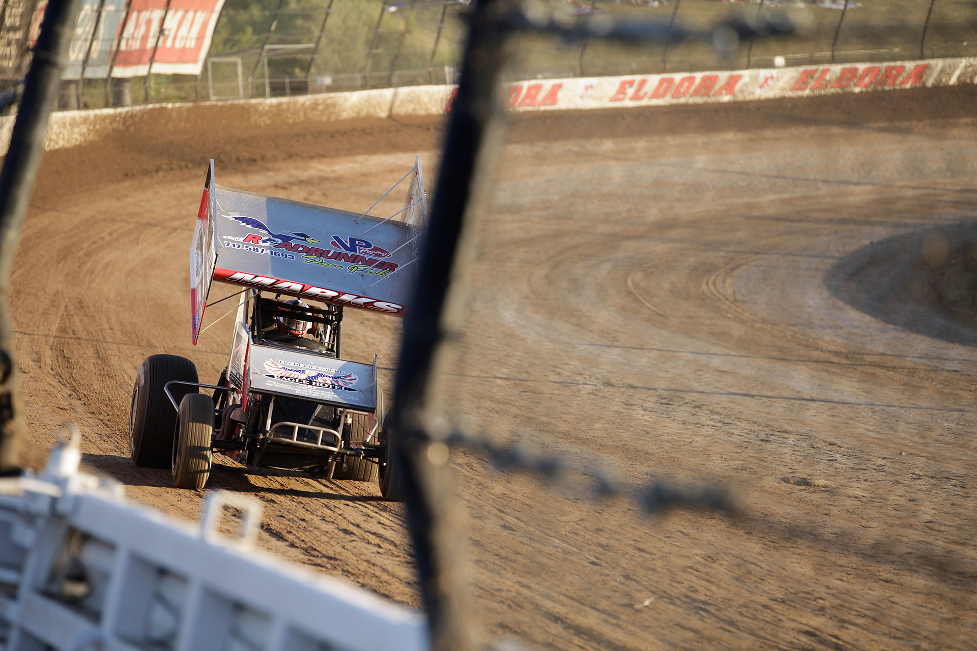 Brent Marks on the hammer, at Eldora Speedway during his qualifying session at The Kings Royal (Jeffrey Turford / TDP)
