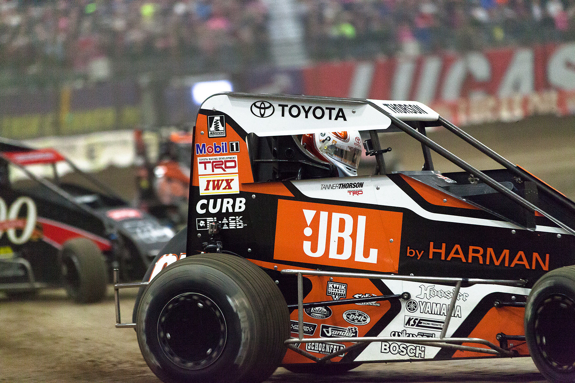 Friday January 13, 2017 TULSA, Oklahoma - Tanner Thorson throws the car into turn 1 during Heat race 10 on Vacuworx Qualifying Night of The 31st annual Lucas Oil Chili Bowl Nationals presented by General Tire.