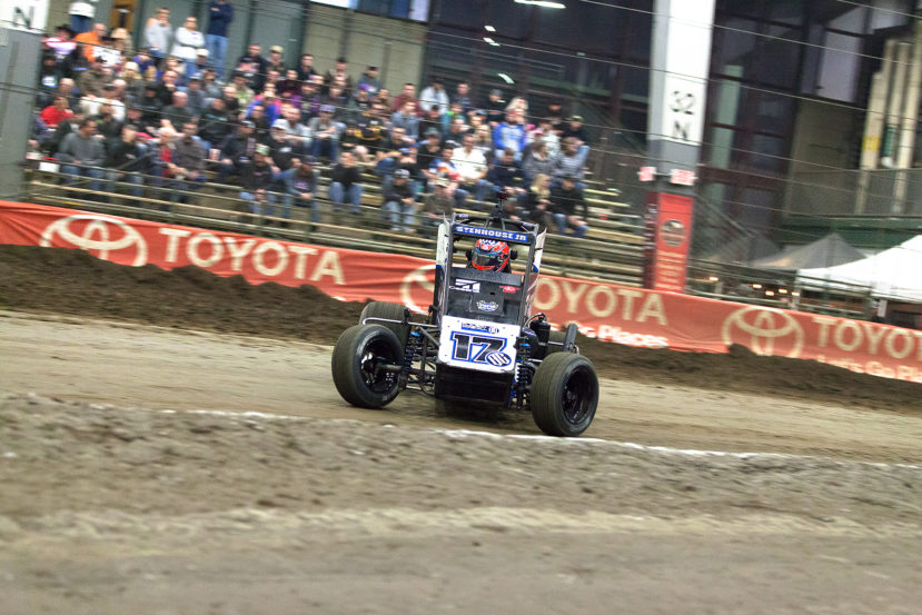 Friday January 13, 2017 TULSA, Oklahoma - Ricky Stenhouse Jr on the gas into turn 3 in the Friday night A-Feature of The 2017 Chili Bowl Nationals ( Jeffrey Turford / TDP )