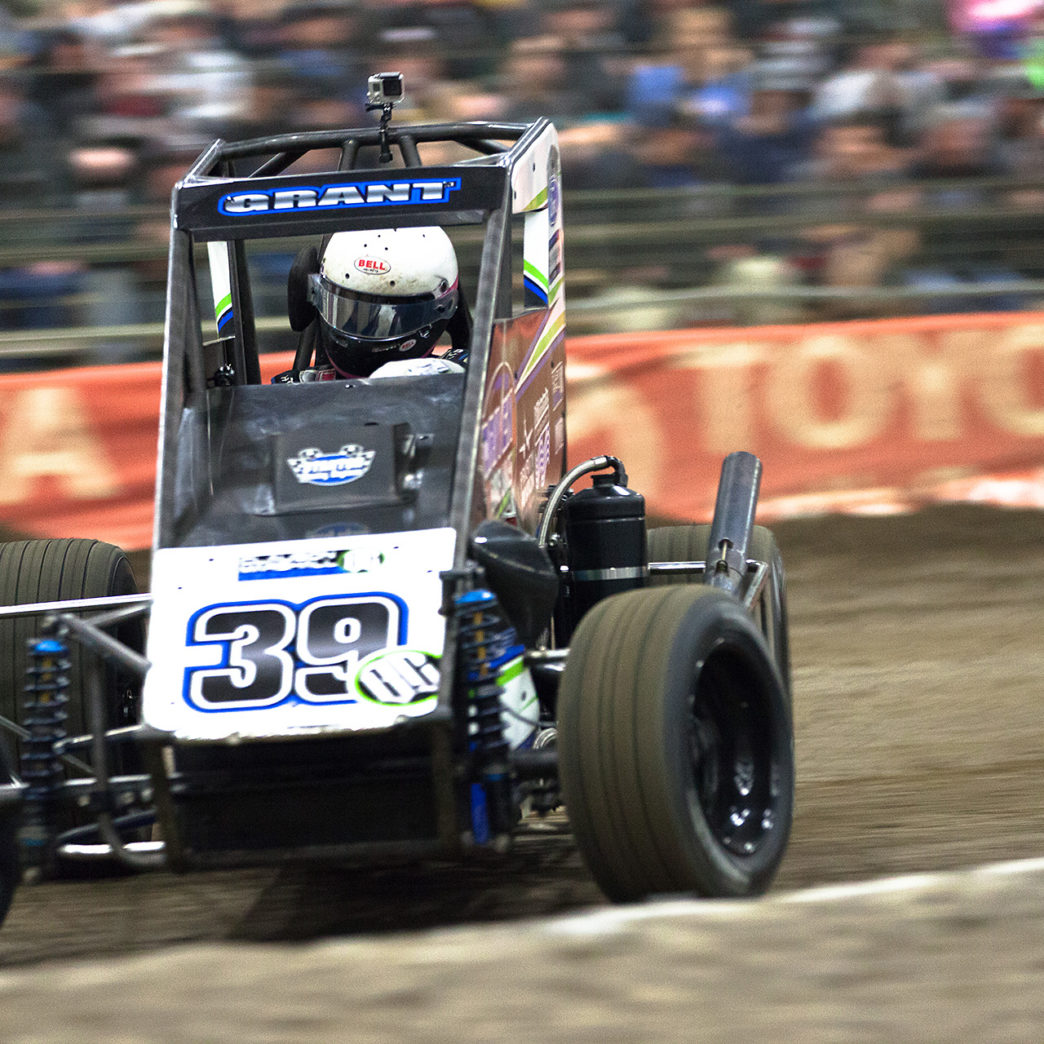 Wednesday January 11, 2017 TULSA, Oklahoma - Kunz Motosports driver; Rico Abreu battling it out during his heat on Wednesday night of The 31st annual Chili Bowl Nationals ( Jeffrey Turford / TDP )