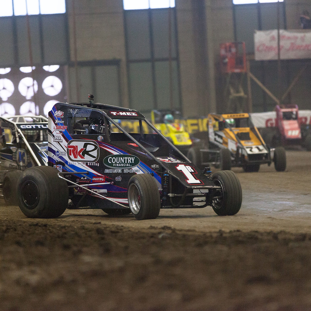 Saturday January 14, TULSA, Oklahoma - No. 1R of Thomas Meseraull leading the D-Feature of the 31st annual Lucas Oil Chili Bowl Nationals presented by General Tire ( Jeffrey Turford / TDP )
