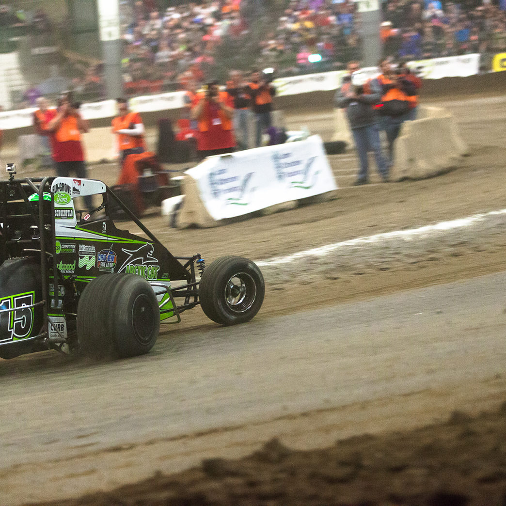 Saturday January 14, TULSA, Oklahoma - Donny Schatz takes the bottom in turn 2, on the final lap of the B-Feature, on the final night of The 2017 Chili Bowl ( Jeffrey Turford / TDP )