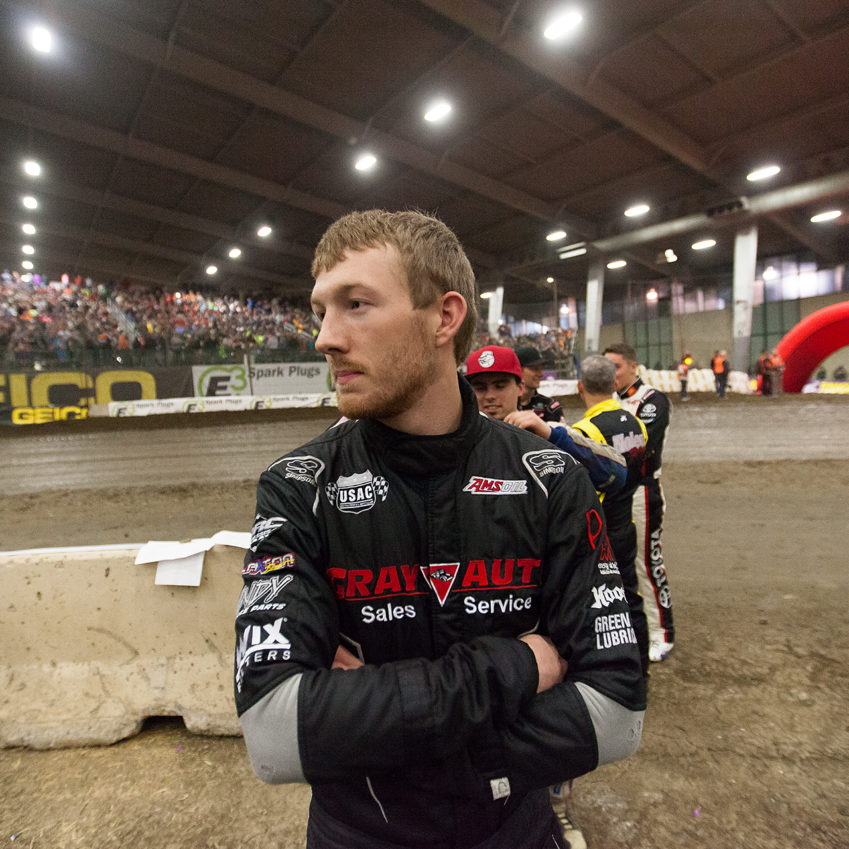 Saturday January 14, TULSA, Oklahoma -C.J Leary stays relaxed before opening ceremonies on Lucas Oil/General Tire Championship Night of The 31st annual Lucas Oil Chili Bowl Nationals presented by General Tire ( Jeffrey Turford / TDP )