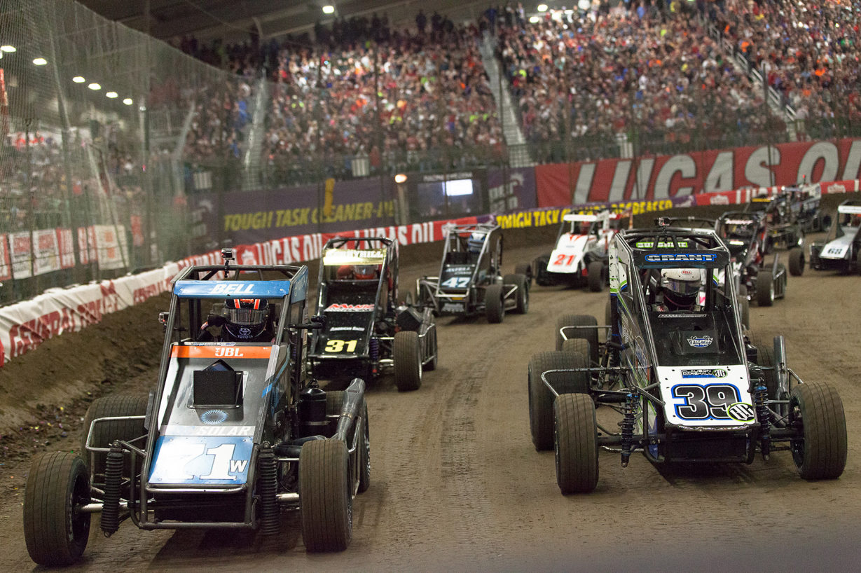 Saturday January 14, TULSA, Oklahoma - 71W Christopher Bell and the 39BC of Justin Grant made up the front row of The 31st annual Lucas Oil Chili Bowl Nationals ( Jeffrey Turford / TDP )