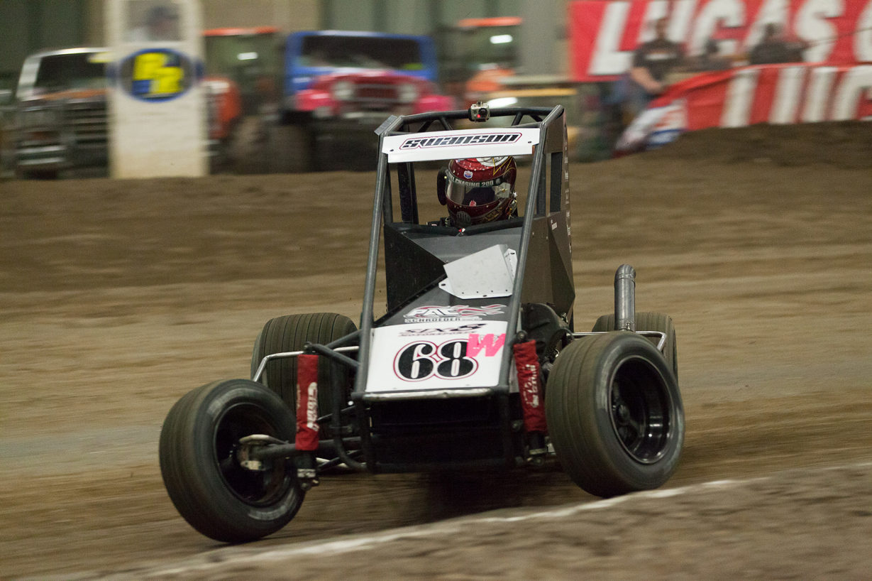 Saturday January 14, TULSA, Oklahoma -No.68W, SIX8 Motorsports car of Jake Swanson angles into turn 2 of Tulsa Expo Raceway in The 31st annual Lucas Oil Chili Bowl Nationals presented by General Tire. ( Jeffrey Turford / TDP )