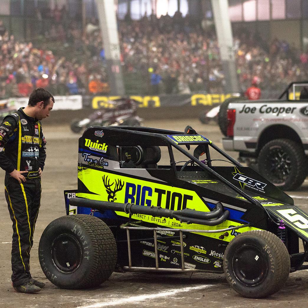 Saturday January 14, TULSA, Oklahoma - 2016 ARCA Racing Champion, Chase Briscoe, looks on disappointingly at a bent rear shock on his Big Tine sponsored, Cunningham Motorsports Midget ( Jeffrey Turford / TDP )