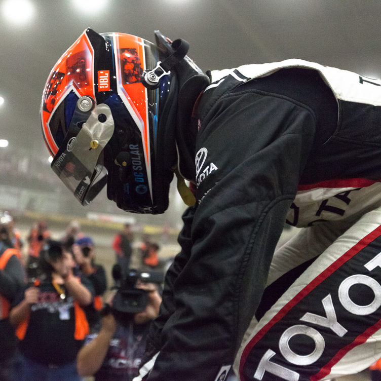 Thursday January 12, 2017 TULSA, Oklahoma - Christopher Bell mounts his DC Solar/Kunz Motorsports No. 71 midget car, in victory lane on Thursday, J.C.T. Qualifying Night of The 31st Chili Bowl Nationals ( Jeffrey Turford / TDP )